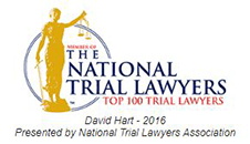 Logo Recognizing The Hart Law Firm's affiliation with National Trial Lawyers Top 100